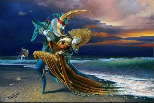 """""""Coucher de soleil Tango"""" de Michael Cheval"""