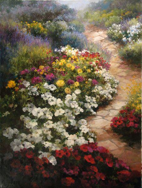 Quot Walkway In Bloom Quot Oil Painting Paul Guy Gantner