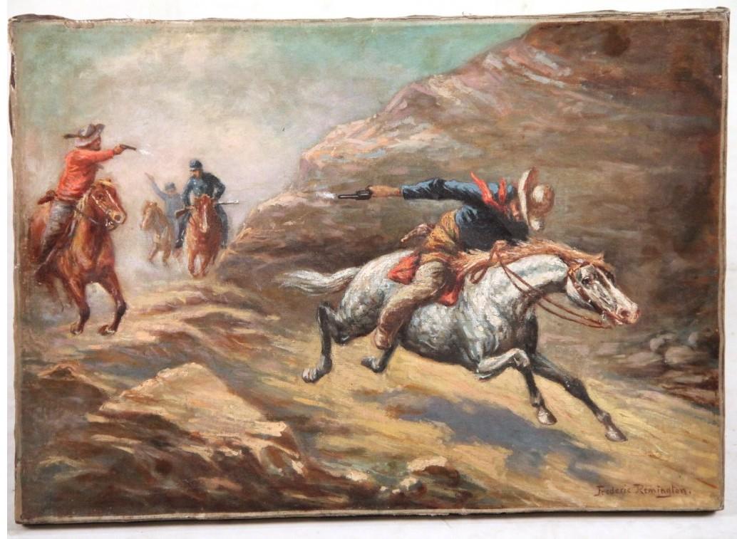 """Frederic Remington Painting """"Shootout"""""""